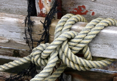 Rope tied to the wreck of the Boy David, Vatersay